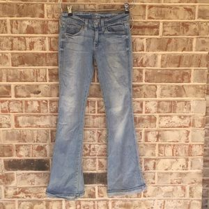 74AM A Pocket Cuffed Hem Light Wash Flare Jeans 23